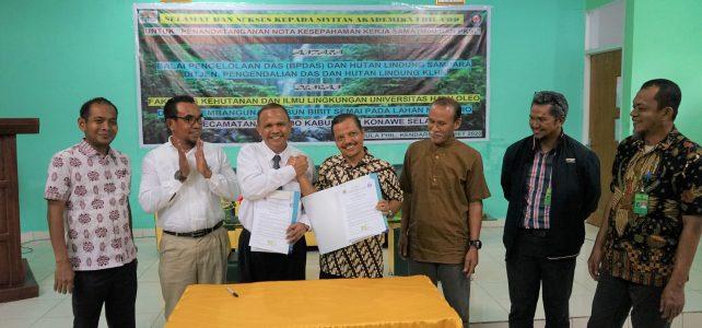 Acara Penandatanganan Nota Kesepahaman Kerja Sama (MoU dan PKS) antara BPDAS Sultra dan FHIL UHO, Kendari 13 Maret 2020.